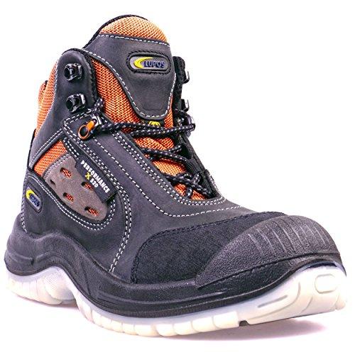Lupos® Sicherheitsstiefel S1P ESD LOG303 Schwarz/Orange Herren - Atmungsaktiv, Alu-Cap, Durchtrittsicher, Rutschhemmend (SRC), Antistatisch (ESD), Nubukleder, Zehenschutz, Anti-Shock-Fußbett (45)