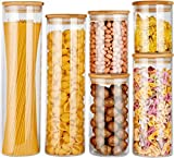 Glass Food Storage Jars Containers, Glass Storage Jar with Airtight Bamboo Lids Set of 6 Kitchen Glass Canisters For Coffee, Flour, Sugar, Candy, Cookie, Spice and More