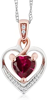 Gem Stone King 10K 2-Tone Gold Created Red Ruby and White Diamond Heart Shape Pendant Necklace With 18 inches Chain