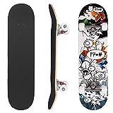 Monopatín Completo Skateboard para Principiantes rodamientos ABEC-7 Tabla de para Niñas Niños Adolescentes Adultos 31 x 8 Inch (Little Monsters)