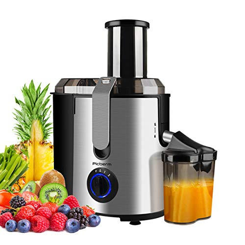 Juicer Picberm Wide Mouth Juicer Machine, 3 Speed Centrifugal Juicers Whole Fruit and Vegetable, 800W Powerful Juice Extractor with Pulse Function Stainless Steel Easy to Clean & BPA Free
