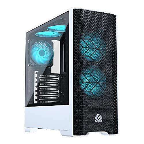 Metallic Gear Neo Air ATX Mid-Tower Case (MG-NE520A_BW01), High Airflow Mesh Front Design, 2X 120 RGB Skiron Fans, RGB Controller, Black/White