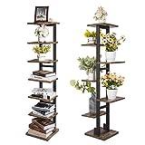 X-cosrack Countertop Bookshelf Organizer Tree Bookcase,7-Tier Metal Frame Industrial Ladder Shelf,Free Standing Books Holder Organizer for Home Office,Living Room