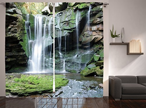 """Ambesonne Waterfall Curtains, Rocky Waterfall to Pond Running Off Scenic Nature Themed Picture Print, Living Room Bedroom Window Drapes 2 Panel Set, 108"""" X 84"""", Green Brown"""