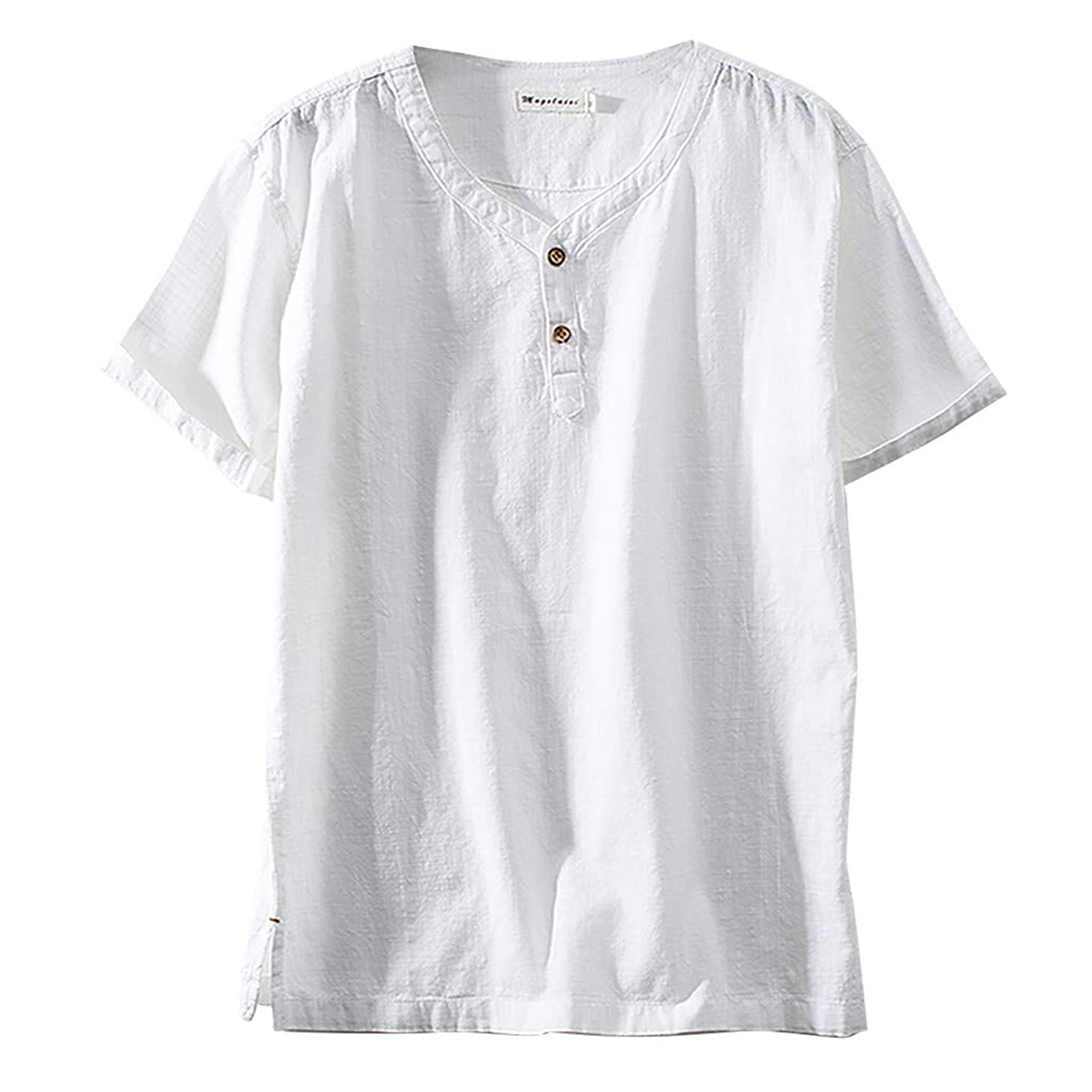 Dainzuy Shirts for Men Short Sleeve Linen and Cotton V Neck T-Shirts Casual Plus Size Lightweight Tee Loose Tops Blouse