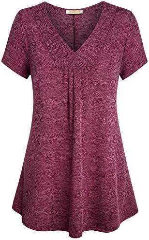 BAIKEA XL Tunic Tops for Women Juniors Wine Red Tunics Flowy Cross V Neck T Shirt Maternity product image