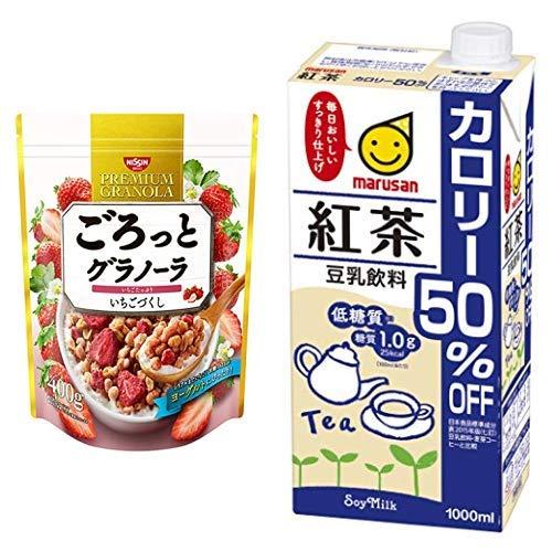 【セット買い】ごろっとグラノーラいちごづくし400g 400gX6袋 + マルサン 豆乳飲料バナナ カロリー50%オフ 1L×6本