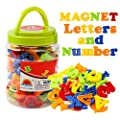 JCREN Magnetic Alphabet Magnets Letters and Numbers Toy ABC 123 Fridge Plastic Toy Set Educational Magnetic in Bucket Preschool Learning Spelling Counting Uppercase Lowercase Math Symbols for Toddler by JCREN