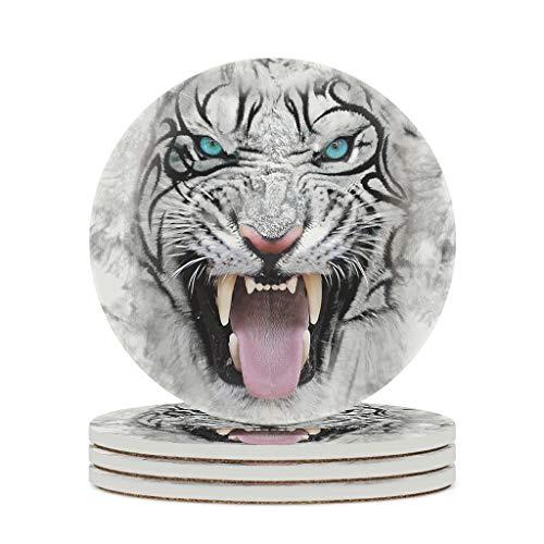 Posavasos redondo de cerámica con cara de tigre blanco, juego de 4 o 6 posavasos de porcelana con dorso de corcho para vasos y tazas, color blanco, 4 unidades