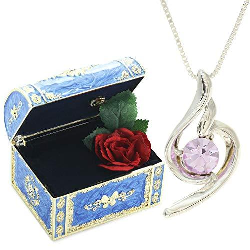 [デバリエ] y441-jb (vio) 12月誕生日プレゼント 女性 人気 彼女 母 母の日のプレゼント 贈り物 クリスタル ネックレス レディース セット品(オルゴール1組 ネックレス1組) ラッピング付
