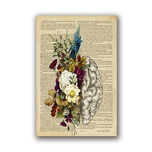 None brand Floral Brain Print Menschliche Anatomie Vintage Poster Geschenk für Ärzte Medizinische Anatomische Wandkunst Leinwand Malerei Büro Wanddekoration-40X60cm