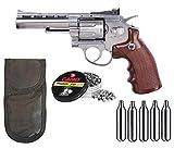 Tiendas LGP- Winchester, Revólver 4,5 Special, de Aire Comprimido (CO2) Full Metal, Revolver co2, Potencia de 3,5 Julios, Calibre de 4,5 mm + Funda portabombonas + 250 Balines + 5 Bombonas CO2