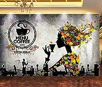 写真の壁紙3D壁画コーヒーショップレトロ抽象的な美しさの背景の壁現代のHdポスター大きな壁のステッカーツーリング壁アート装飾壁の装飾-137.8x98.4inch