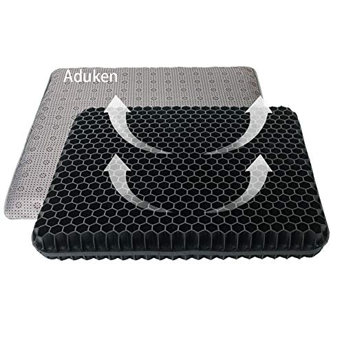 Gel Egg Seat Cushion-Honeycomb Design Chair Pad with Non-Slip Cover-Tailbone, Sciatica, Back Pain Relief-Keep Comfortable Sitting for Long Time for Car, Wheelchair, Computer and Desk Chair (Black)
