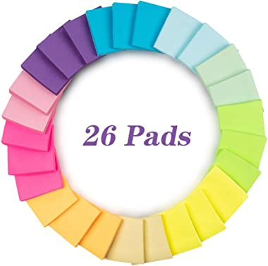 Cocoboo 26 Pads Super Sticky Notes, 3x3 Inches, Self-Stick Notes, 100 Sheets per Pad, 10 Colors, Post Notes for School and Office