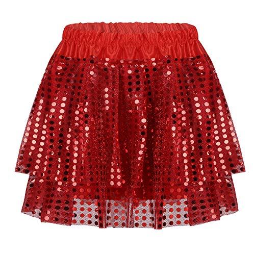 Alvivi Kinder Bauchtanz Rock Funkelnde Mini Rock Pailletten Kleider Tanzkleid, Latein Rumba Cha Cha Tango Samba Ball-Kleid Rot 110-116