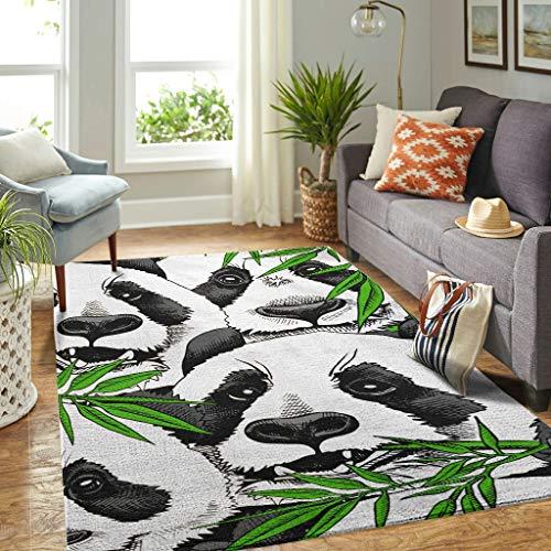 Veryday Panda Bambus Teppich Vintage Wohnzimmer Teppich als Fußmatte Schmutzmatte für Schlafzimmer Küche White 50x80cm