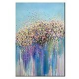 Pintura al óleo Coloridas flores estrelladas 100% pintadas a mano , Óleo Pintura Cuadros Sin marco , Abstractas Cuadros Decorativos Adecuado para sala de estar dormitorio oficina,50x100cm(20x40inch)