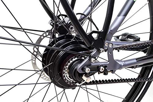 51tf9aLzRaL - 28 Zoll Fahrrad TechniBike E-Bike Pedelec Riemen N330 Nabenschaltung Conti Akku 70Nm Grau Grün Gr.L