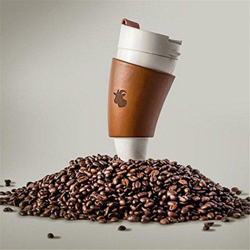 EgBert Ziegen Horn Liner Kaffee Mug Vakuum Isolierung Cup Croissants Cup Edelstahl 330Ml - Weiß