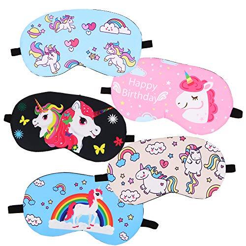 Lot de 5 masques de sommeil avec motifs licornes - confortables et légers - idéal pour les soirées pyjama, les voyages et les siestes