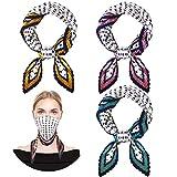 3 Piezas Pañuelo Plisado para Mujeres Bufanda Cuadrada para Cuello Pelo Pañuelo de Seda Falsa con Puntos Lunares 27,6 x 27,6 Pulgadas
