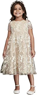 Cap Sleeve Embroidered Tea-Length Flower Girl/Communion Ball Gown Style CR1394
