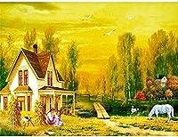 5Dダイヤモンドペインティングキッ,家,DIYフルダイヤモンドクリスタルクロスステッチ刺繡クラフトアートキャンバス壁装飾40x50cm