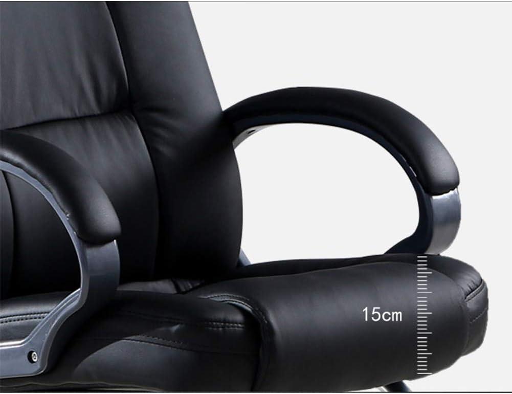 Chaise de Bureau Ergonomique Chaise pivotante de Conception Ergonomique pour Usage Domestique Tabouret en Cuir Pieds en Acier Noir, Doux et Confortable Noir
