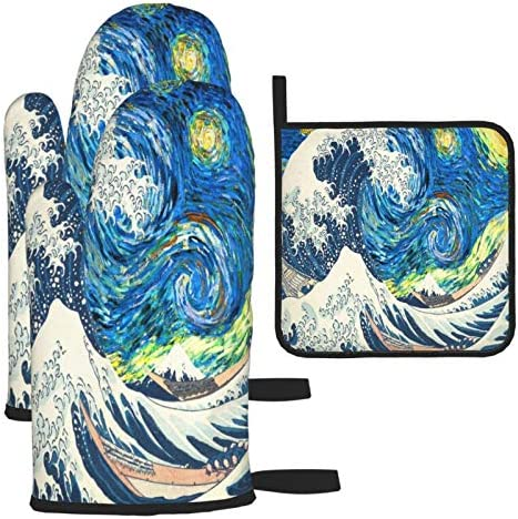 The Starry Night Van Gogh Oven Mitts and Potholder Sets Colorful Oil Painting Waves Heat Resistant product image