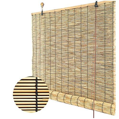L-KCBTY Persianas De Bambú, Persianas De Caña, No Requiere Perforación, Instalación Fácil Y Simple, Decoración Interior/Exterior, Persiana Estor Enrollable De Bambú Natural