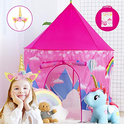 ORWINE Kids Play Tents for Girls Tent Unicorns Princess Castle Playhouse Tent Indoor Outdoor Pop Up Play Tent for Kids Toddler Child Girls Toy Birthday Xmas Gifts with Unicorns Headband & Carry Bag