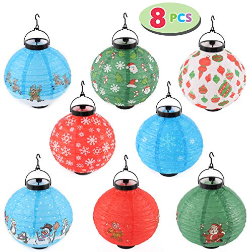 Joiedomi Pack of 8 Christmas Decorations Paper Lanterns with LED Lights in Different Styles