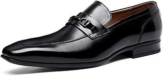 Kirabon Zapatos de Piel de Vacuno de Primera Capa para Hombres Zapatos de Vestir de Cuero Casual de Negocios (Color : Negro, Size : 42)