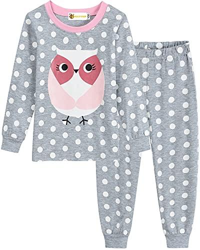 MOLYHUA Baby Eulen Schlafanzug Kinder Mädchen Schlafanzug Lang Pyjama Nachtwäsche 92 98 104 110 116 122