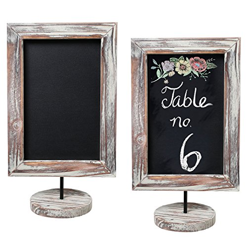 MyGift 12-Inch Rustic Torched Wood Framed Tabletop/Countertop Family Memo & Message Chalkboard, Set of 2