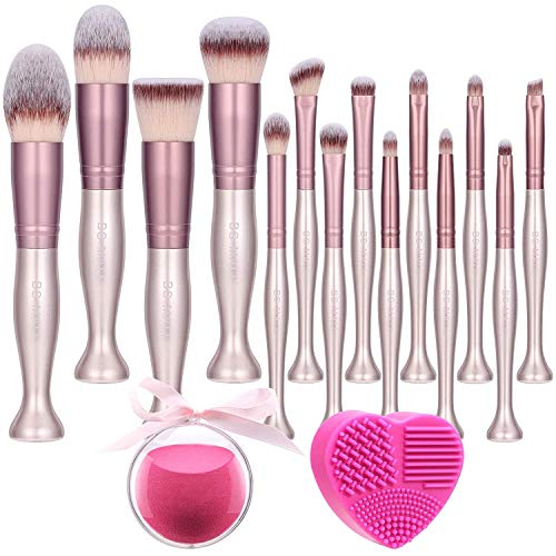 BS-MALL Makeup Brushes Stand Up Premium Synthetic Foundation Powder Concealers Eye Shadows Makeup 14 Pcs Brush Set,with Makeup sponge and Cleaner