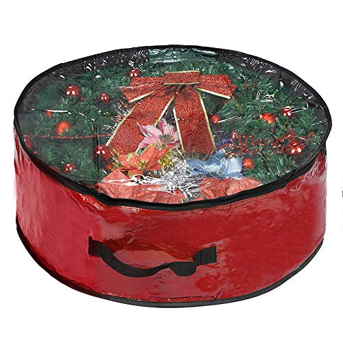ProPik Xmas Wreath Storage Bag 30' - Garland Holiday Container with Clear Window - Tear Resistant Fabric - 30' X 30' X 8' (Red)