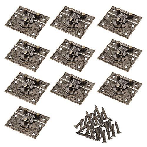 Guanici Pestillo de estilo antiguo Estilo de enganche antiguo grabado vintage diseño bronce antiguo joyería de madera hebilla candado con tornillos para cajas de madera Caja vintage Gabinete antiguo