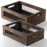 Wooden Nesting Countertop Baskets Set of 2 for Kitchen, Bathroom, Pantry|Wooden storage organizer For Fruit, Vegetables, Produce, Bread|Storage Space with handles|Decorative Rustic Wood and Metal Wire