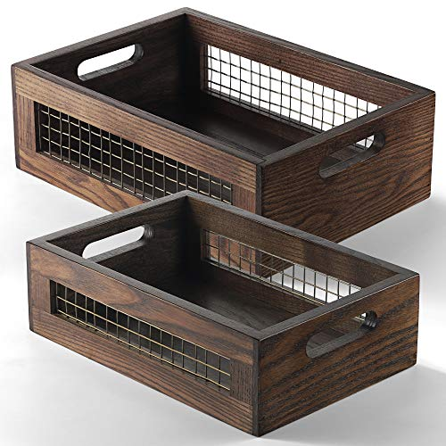 Wooden Nesting Countertop Baskets Set of 2 for Kitchen, Bathroom, Pantry Wooden storage organizer For Fruit, Vegetables, Produce, Bread Storage Space with handles Decorative Rustic Wood and Metal Wire