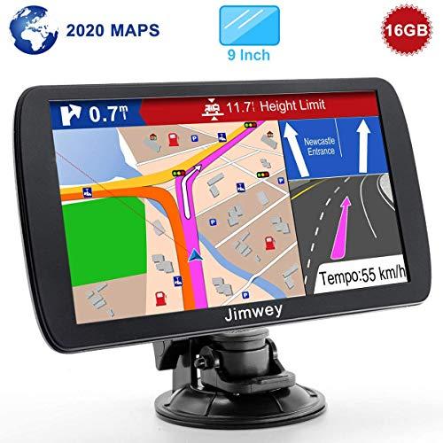 Jimwey GPS Navi Navigation für Auto LKW PKW 9 Zoll 16GB Lebenslang Kostenloses Kartenupdate Navigationsgerät mit POI Blitzerwarnung Sprachführung Fahrspurassistent 2020 Europa UK 52 Karten