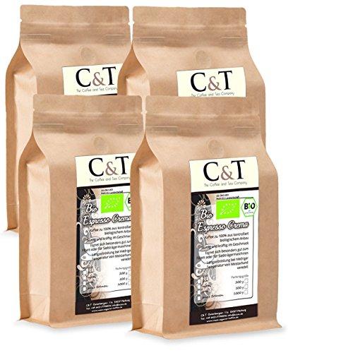 C&T Bio Espresso Crema | Cafe 4 x 1000 g ganze Bohnen Gastro-Sparpack im Kraftpapierbeutel Kaffee für Siebträger, Vollautomaten, Espressokocher