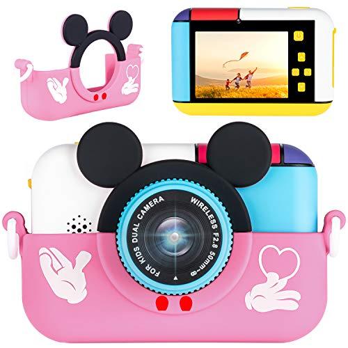 子供用デジタルカメラ トイカメラ キッズ デジカメ 前後2800万画素 1080P録画 連写 写真 タイマー撮影 自撮り 3倍ズーム 2.4インチ IPS画面 知育 教育 男女兼用 子供プレゼント 日本語説明書付き 32GB SDカード付き (pink)