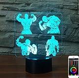 Control inteligente de la aplicación Fitness 3D Night Light, lámpara de escritorio de mesa para niños y niñas de 7 y 16 colores Lámpara de decoración de cambio