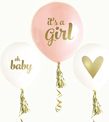 12'' Latex Balloon or Print It's A Girl with or Tassel Set for   Shower Party(Pack of 6)   Baptism
