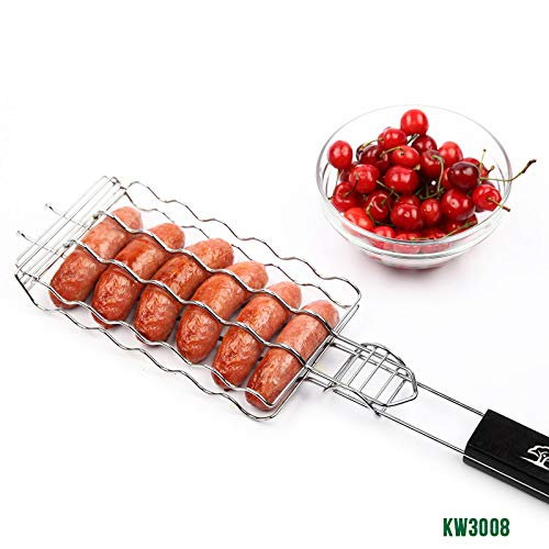 ZFLLF oude barbecue Nieuwe BBQ Barbecue Worst Grilling Mand Hot Dog Rack Metalen Mesh Manden Grill Rack Barbecue Manden Geweldige grill voor 6 hot dogs