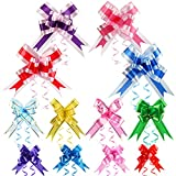 Wonmon 200 Pieces Pull Bows for Gift Wrap, 3 Size Large Middle Small Assorted Colors Gift Bows for Presents, Gift Wrap Ribbon Pull Bows for Christmas Wedding Birthday Gifts Box Bags Decorations
