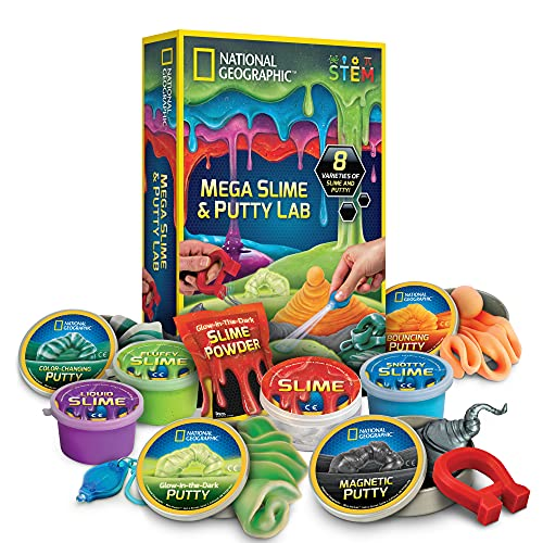 NATIONAL GEOGRAPHIC Mega Slime Kit & Putty Lab - 4 Types of Amazing Slime for Girls & Boys Plus 4...