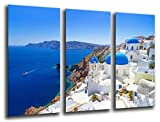 Cuadros Camara Fotográfico Paisaje Santorini, Grecia Tamaño total: 97 x 62 cm XXL, Multicolor